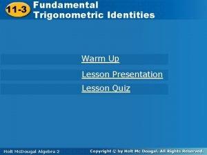Fundamental Trigonometric 11 3 Identities 11 3 Trigonometric