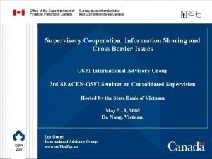 Supervisory Cooperation Information Sharing and Cross Border Issues