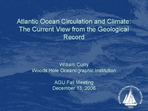 Atlantic Ocean Circulation and Climate The Current View