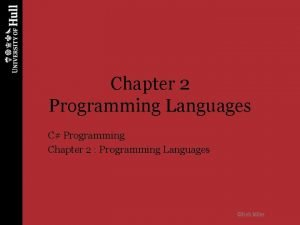 Chapter 2 Programming Languages C Programming Chapter 2