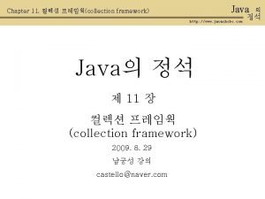 Java Chapter 11 collection framework http www javachobo