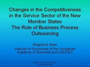 Changes in the Competitiveness in the Service Sector