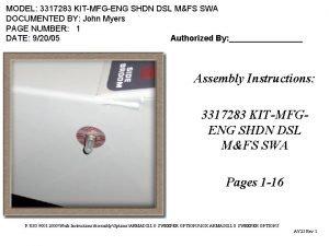 MODEL 3317283 KITMFGENG SHDN DSL MFS SWA DOCUMENTED