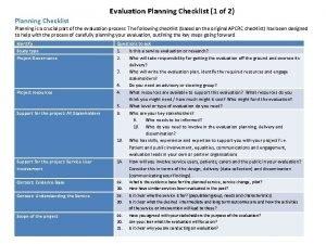 Evaluation Planning Checklist 1 of 2 Planning Checklist