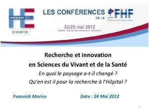 Recherche et innovation en Sciences du Vivant et