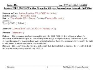 January 2011 doc IEEE 802 15 11 0123