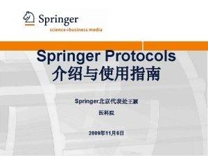 Springer Protocols Springer 2009 116 Protocols Springer Protocols