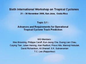 Sixth International Workshop on Tropical Cyclones 21 30