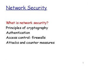 Network Security What is network security Principles of