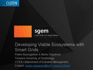 Developing Viable Ecosystems with Smart Grids Petteri Baumgartner