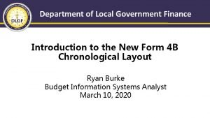 Department of Local Government Finance Introduction to the