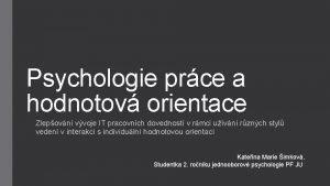 Psychologie prce a hodnotov orientace Zlepovn vvoje IT