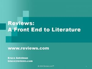 Reviews A Front End to Literature www reviews