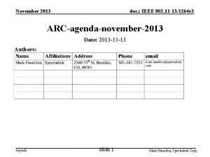 November 2013 doc IEEE 802 11 131264 r