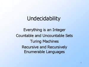 Undecidability Everything is an Integer Countable and Uncountable