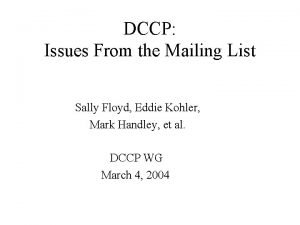 DCCP Issues From the Mailing List Sally Floyd