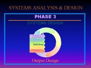 SYSTEMS ANALYSIS DESIGN PHASE 3 SYSTEMS DESIGN Output