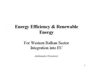 Energy Efficiency Renewable Energy For Western Balkan Sector