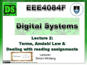 EEE 4084 F Digital Systems Lecture 2 Terms