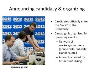 Announcing candidacy organizing Candidates officially enter the race
