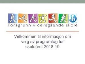 Velkommen til informasjon om valg av programfag for