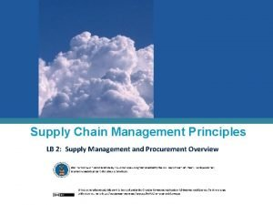 Supply Chain Management Principles LB 2 Supply Management
