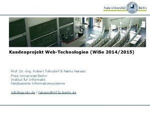 Kundenprojekt WebTechnologien Wi Se 20142015 Prof Dr Ing