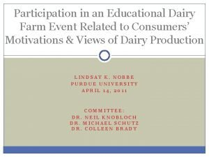 Participation in an Educational Dairy Farm Event Related