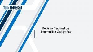 Registro Nacional de Informacin Geogrfica El Instituto Nacional