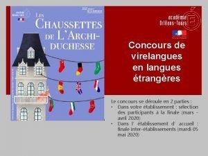 Concours de virelangues en langues trangres Le concours