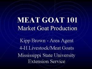 MEAT GOAT 101 Market Goat Production Kipp Brown