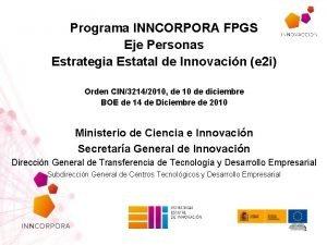 Programa INNCORPORA FPGS Eje Personas Estrategia Estatal de