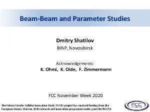 BeamBeam and Parameter Studies Dmitry Shatilov BINP Novosibirsk