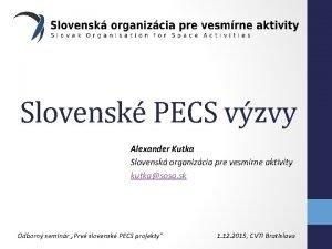 Slovensk PECS vzvy Alexander Kutka Slovensk organizcia pre