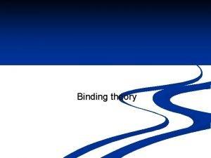 Binding theory Binding Theory n Binding Theory consists