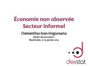 conomie non observe Secteur informel Clementina IvanUngureanu Atelier