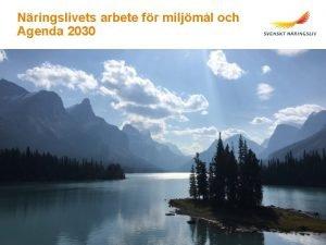 Nringslivets arbete fr miljml och Agenda 2030 Svenskt