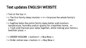 Text updates ENGLISH WEBSITE Text at the top
