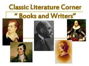 Classic Literature Corner Books and Writers Well speak