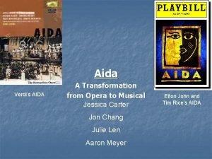 Aida Verdis AIDA A Transformation from Opera to
