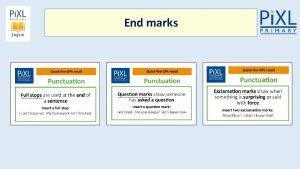 End marks Capital letters Sentences Linking words together