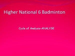 Higher National 6 Badminton Cycle of AnalysisANALYSE Li