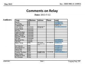 doc IEEE 802 11 130511 May 2013 Comments