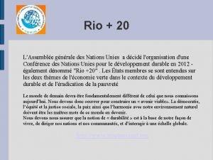 Rio 20 LAssemble gnrale des Nations Unies a