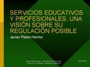 SERVICIOS EDUCATIVOS Y PROFESIONALES UNA VISIN SOBRE SU
