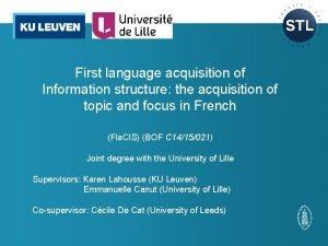 First language acquisition of Information structure the acquisition