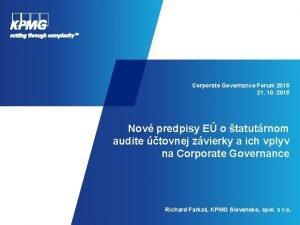 Corporate Governance Forum 2015 21 10 2015 Nov