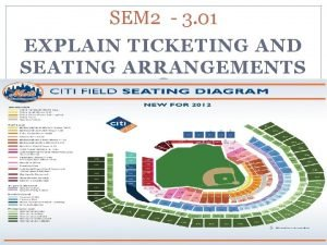SEM 2 3 01 EXPLAIN TICKETING AND SEATING