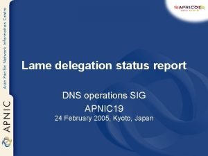 Lame delegation status report DNS operations SIG APNIC