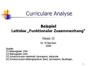 Curriculare Analyse Beispiel Leitidee Funktionaler Zusammenhang Klasse 10